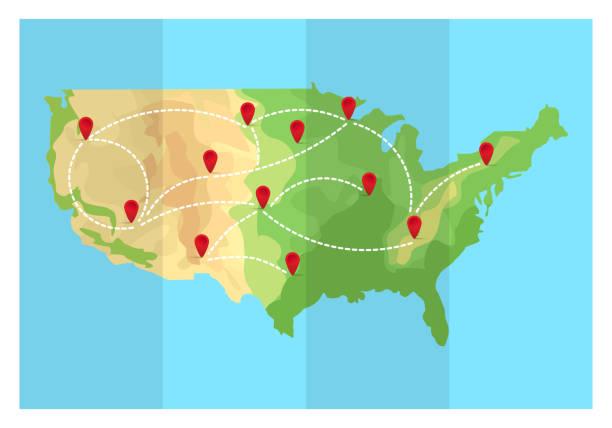 stockillustraties, clipart, cartoons en iconen met gevouwen reizen kaart, verenigde staten van amerika met punt markeringen. vectorillustratie in vlakke stijl. eps10. - stickers met relief