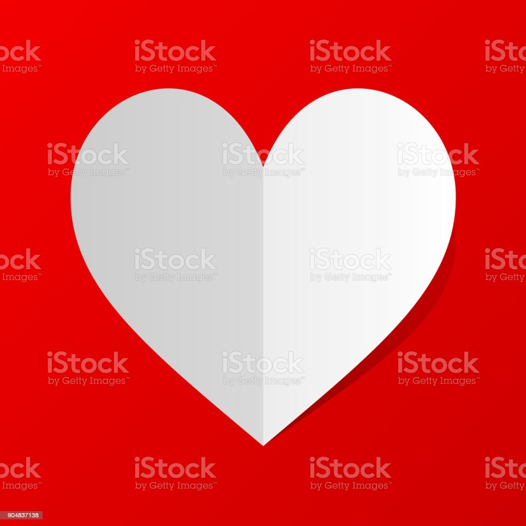 Folded white paper heart Icon with shadow on red background. Minimal flat red love symbol. vector art illustration