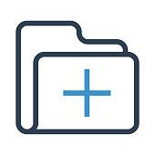 folder add thin colour line vector icon