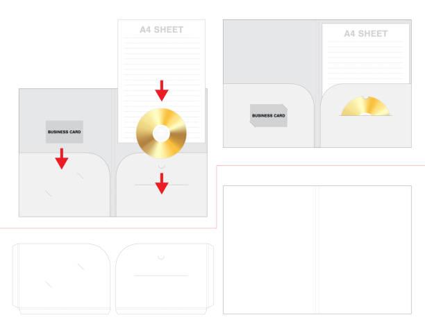 Folder business card and dish die cut mock up vector art illustration