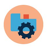 Folder Cog Colored Vector Illustration