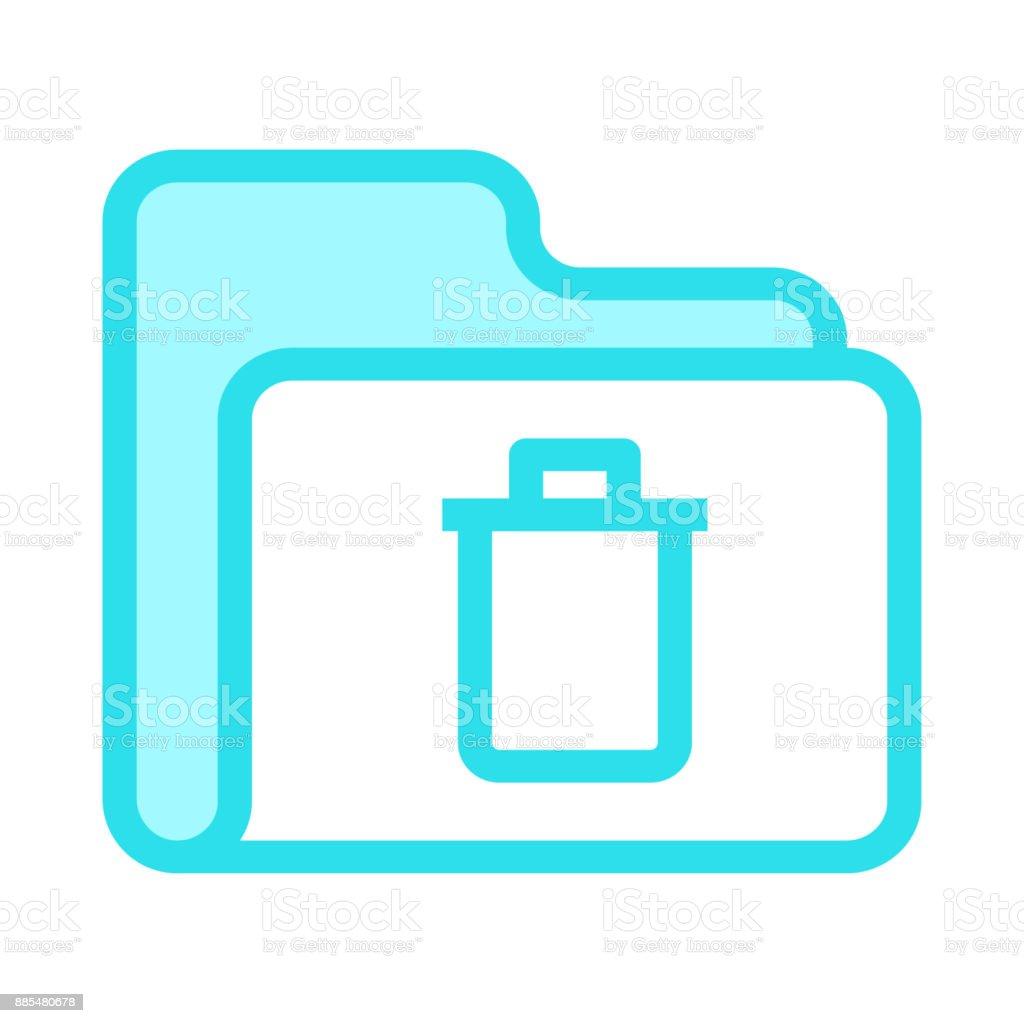folder delete colour line vector icon