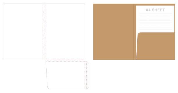 folder die cut mock up template vector vector art illustration