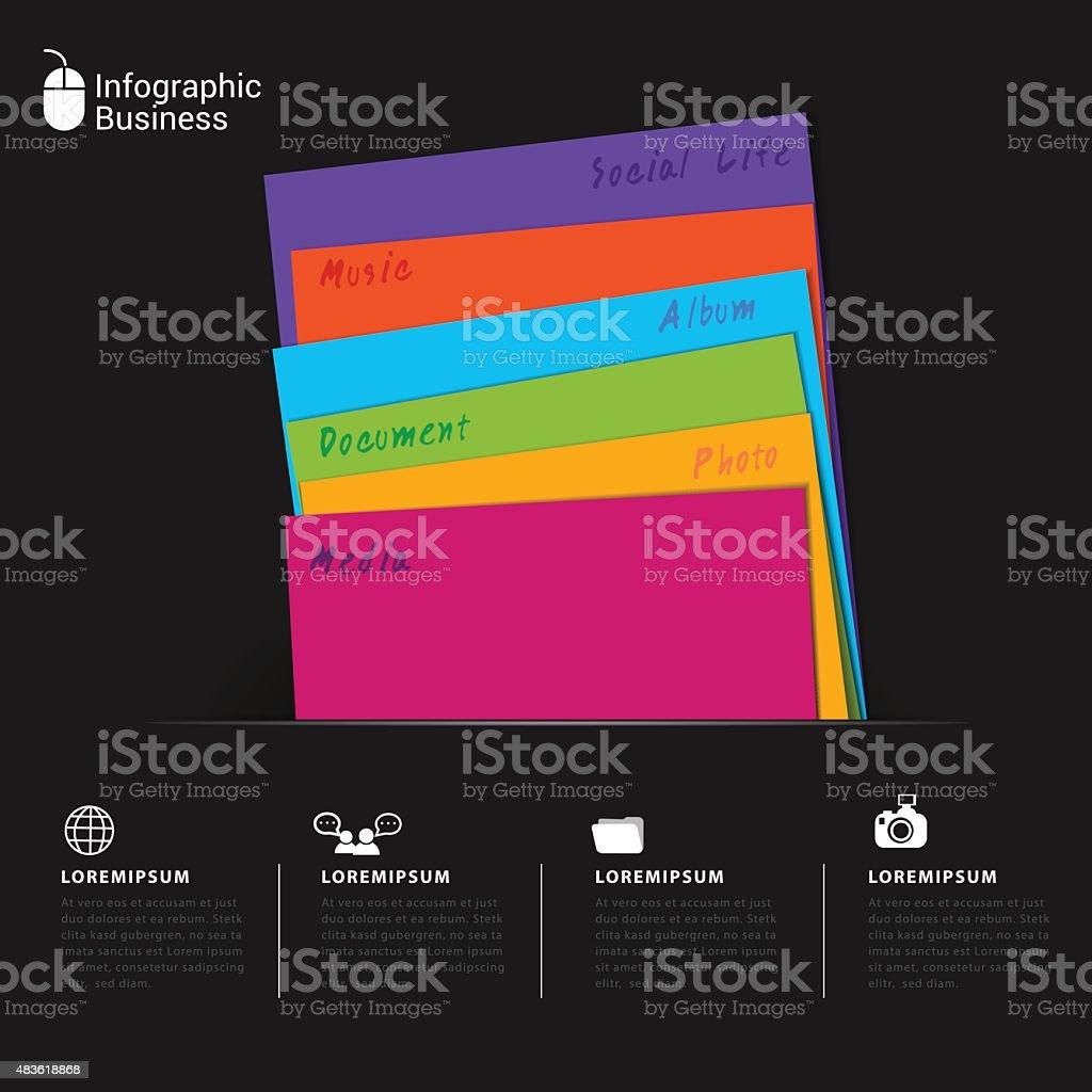 Folder document business infographic. vector art illustration