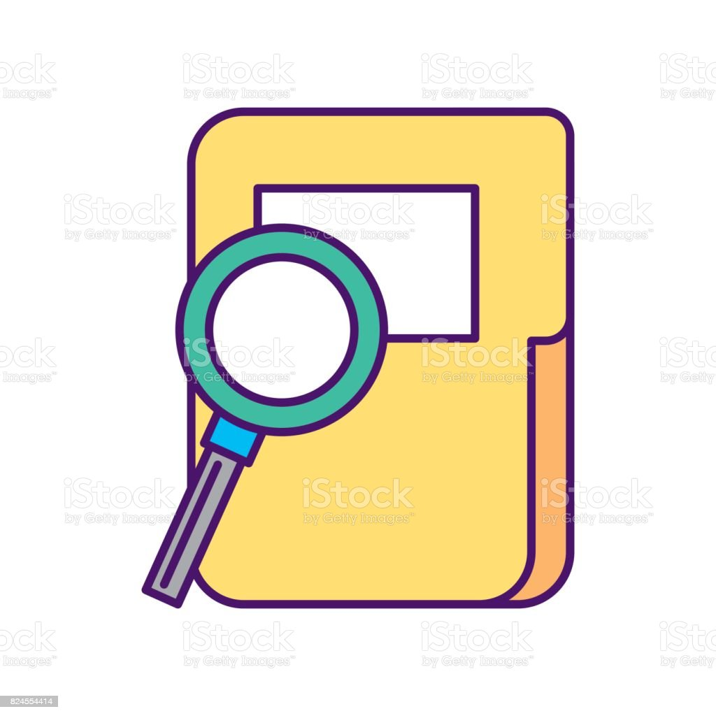 folder document with magnifying glass vector art illustration