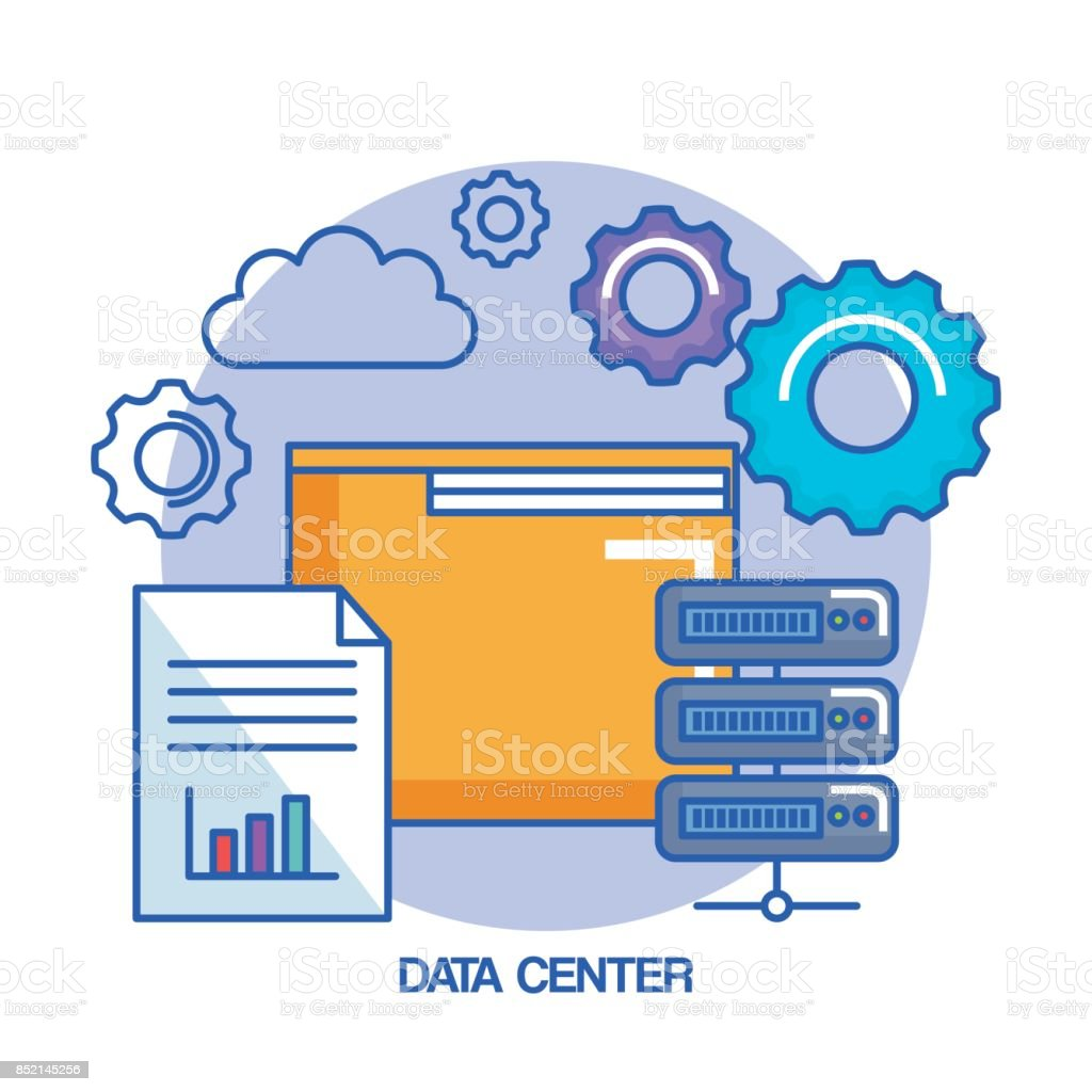 Ordner Getriebe Data Center Webhosting Cloud Computing Stock Vektor ...
