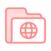 folder globe colour line vector icon