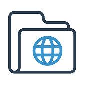 folder globe thin colour line vector icon