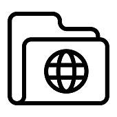 folder globe Thin Line Vector Icon