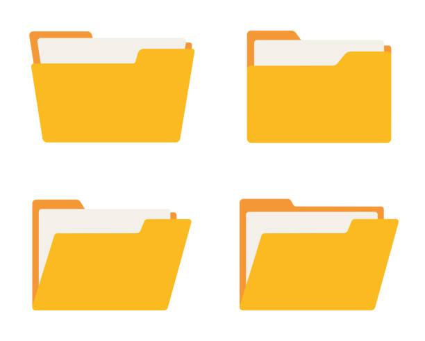 stockillustraties, clipart, cartoons en iconen met mappictogram ingesteld. platte stijl. vector - dossier