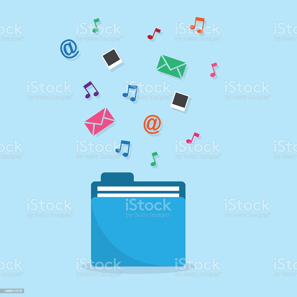 Folder Icons Flowing Out royalty-free stock vector art