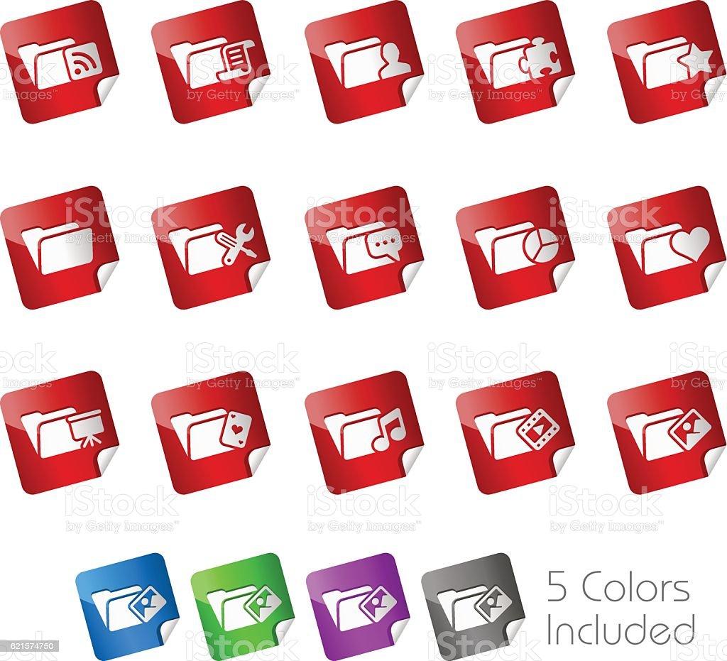 Folder Icons Set 2 // Stickers Series folder icons set 2 stickers series – cliparts vectoriels et plus d'images de arts culture et spectacles libre de droits