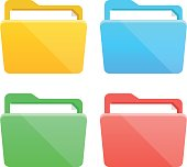 Folder icons set. Flat design graphic elements, colorful folders flat icons set. Vector illustration