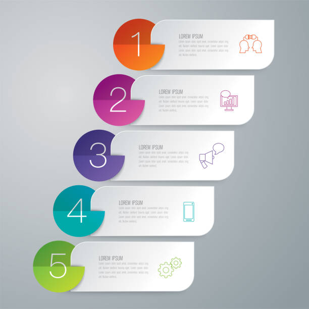 Folder infographics design vector and business icons. Vector illustration was made in eps 10 with gradients and transparency. Can be used for workflow layout, diagram, number options, web design. topics stock illustrations