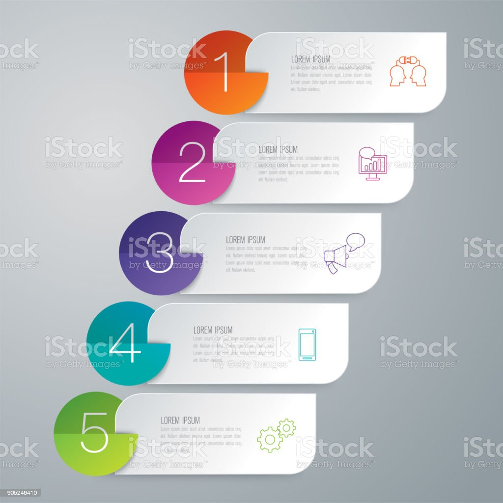 Folder infographics design vector and business icons. - ilustração de arte vetorial