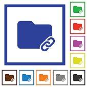 Folder link flat framed icons
