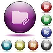 Folder link glass sphere buttons