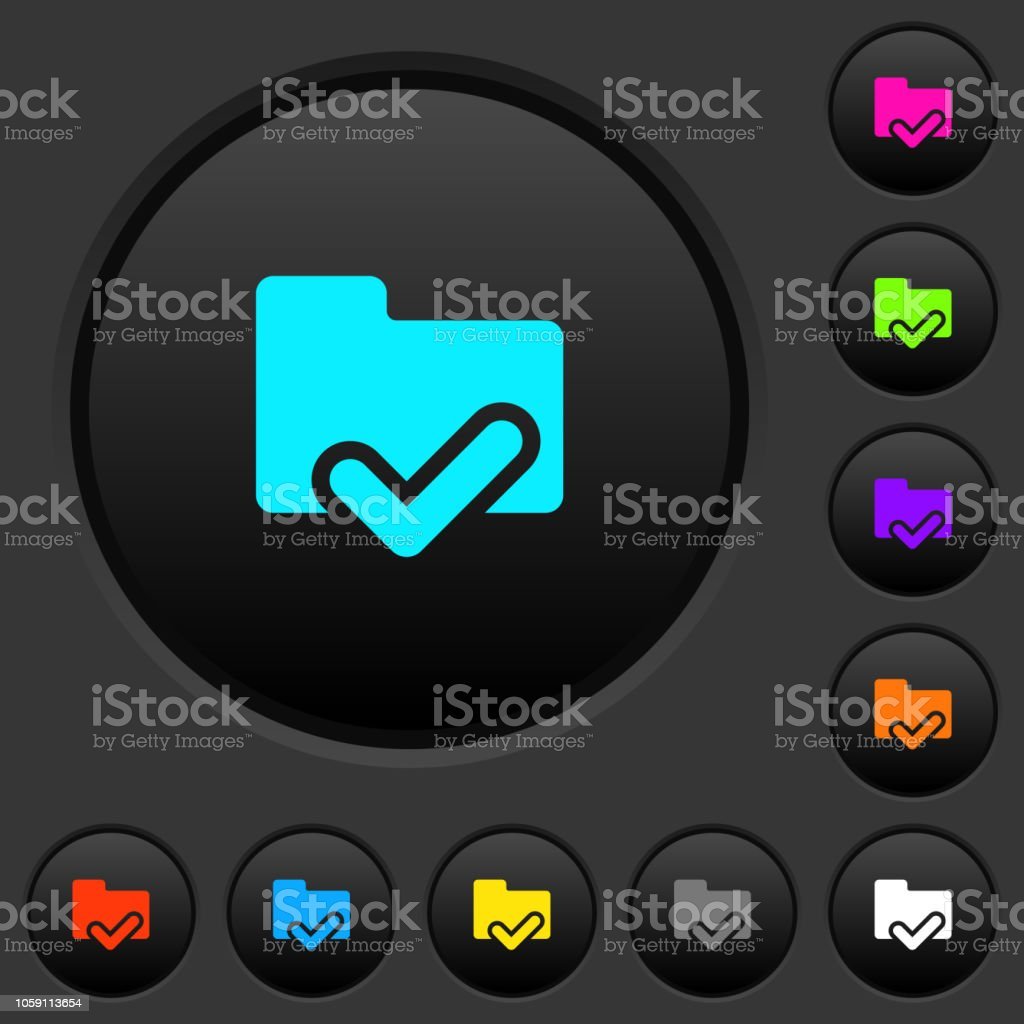 Folder ok dark push buttons with color icons vector art illustration