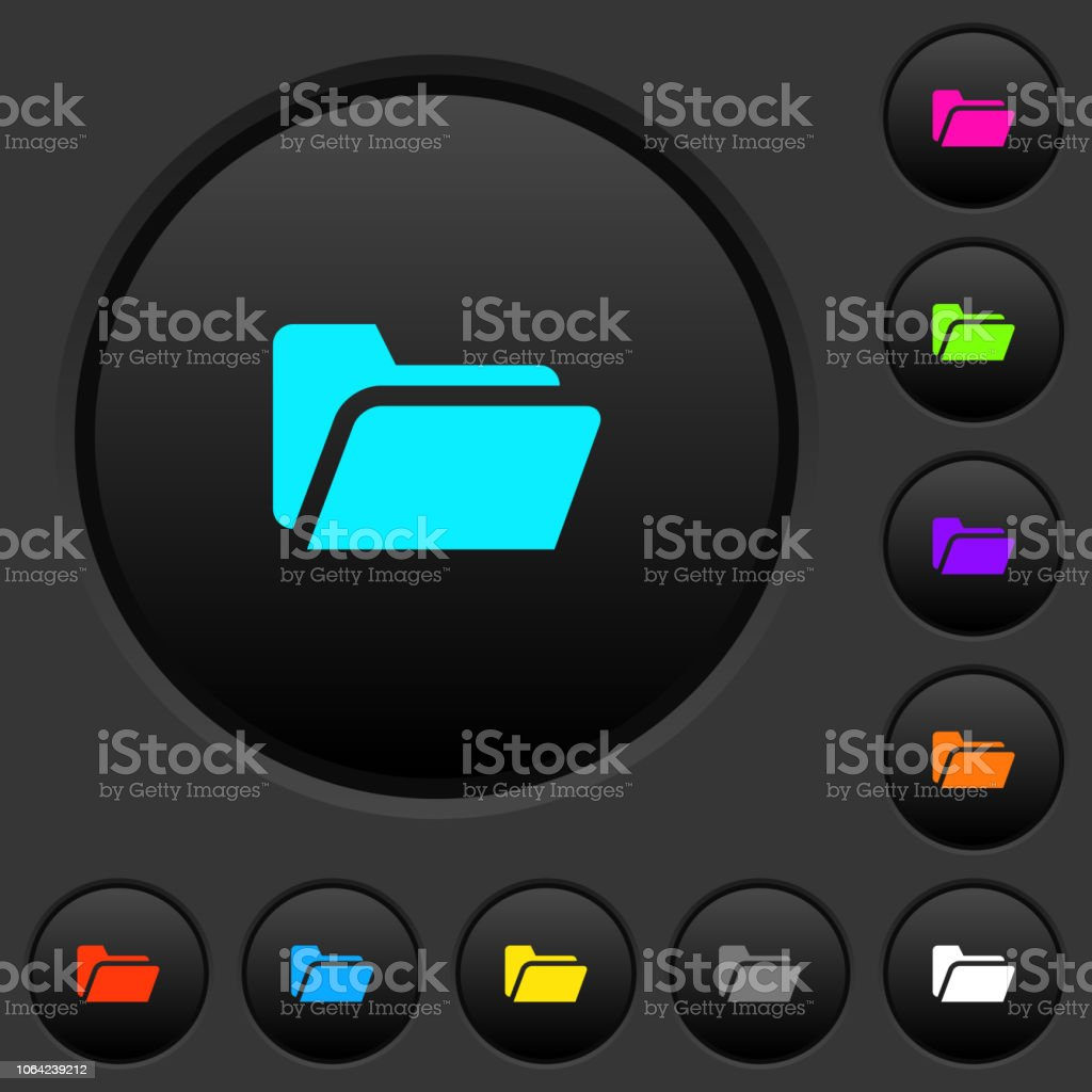 Folder open dark push buttons with color icons vector art illustration