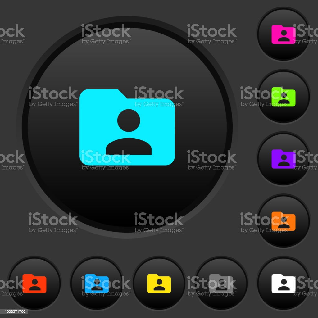 Folder owner dark push buttons with color icons vector art illustration
