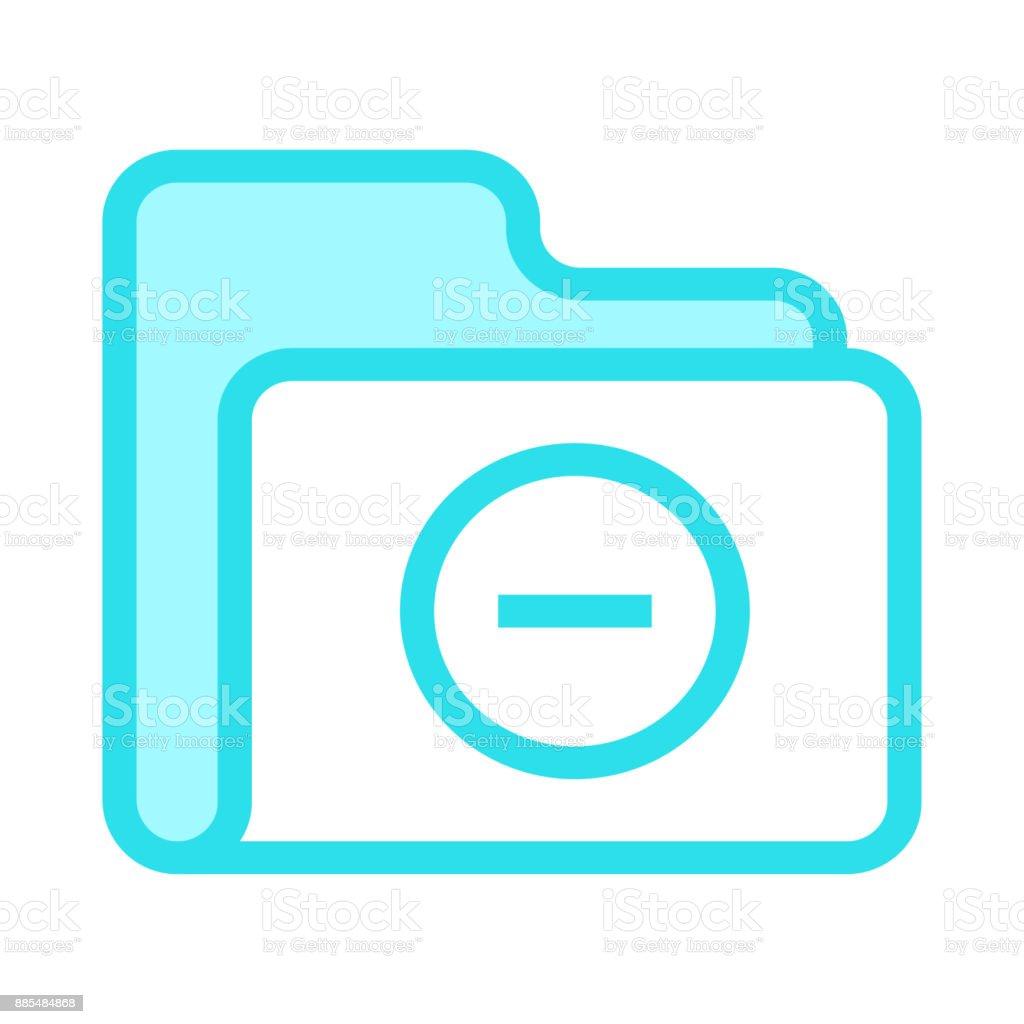 folder remove colour line vector icon