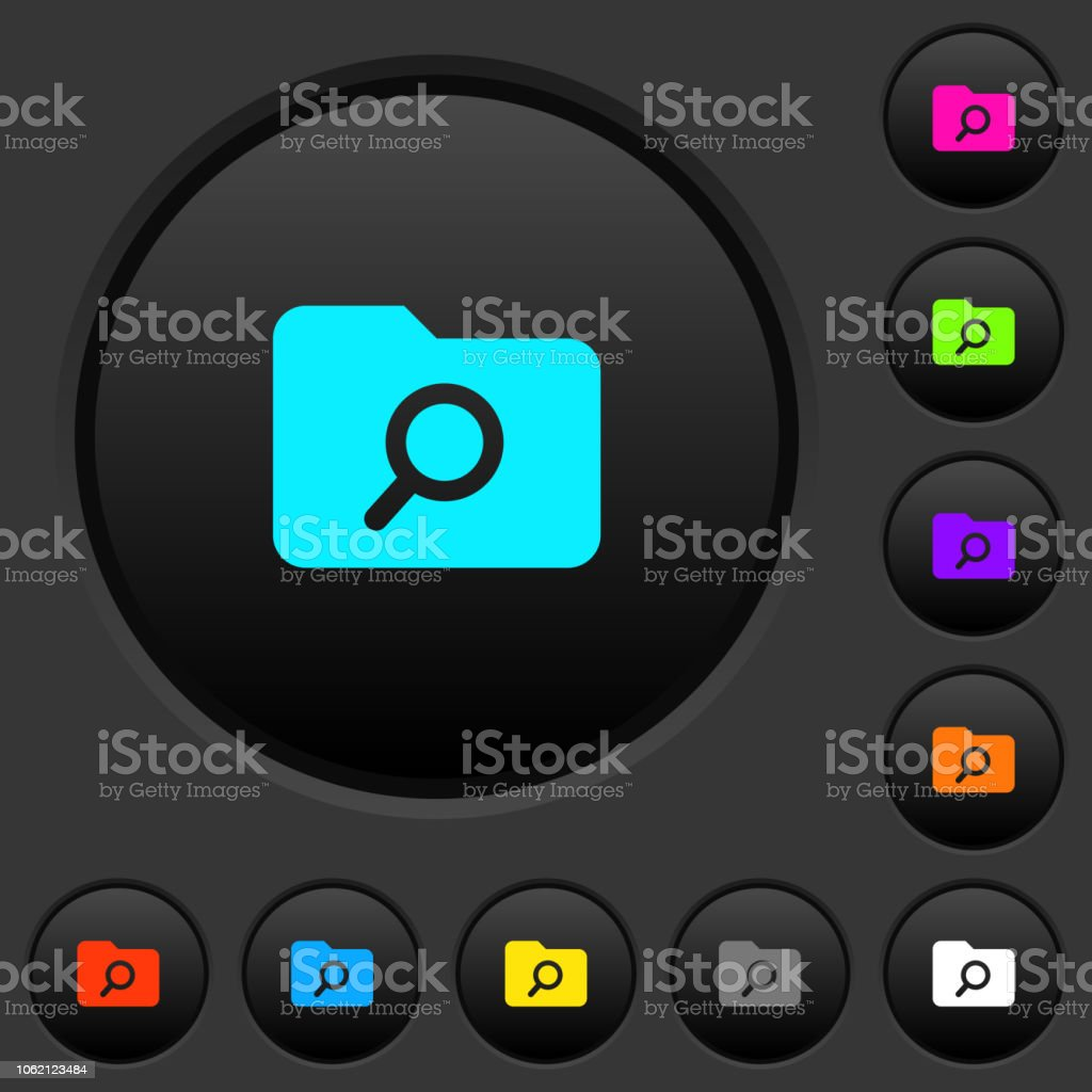 Folder search dark push buttons with color icons vector art illustration