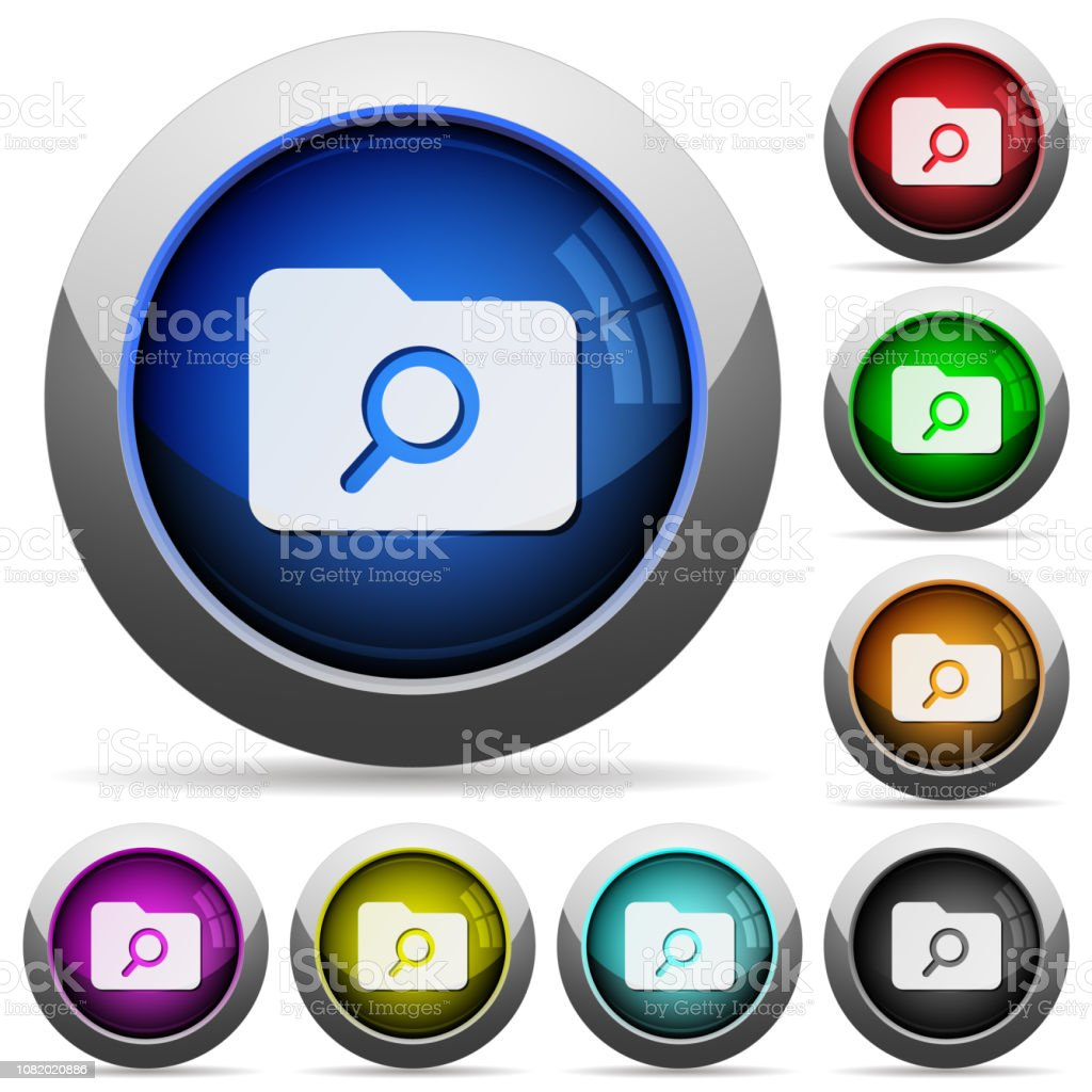 Folder search round glossy buttons vector art illustration