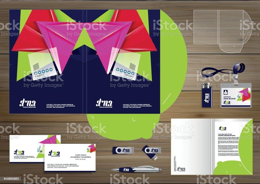 Folder Template design for digital technology company. Element of...