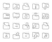 Folder Thin Line Icons Vector EPS File.