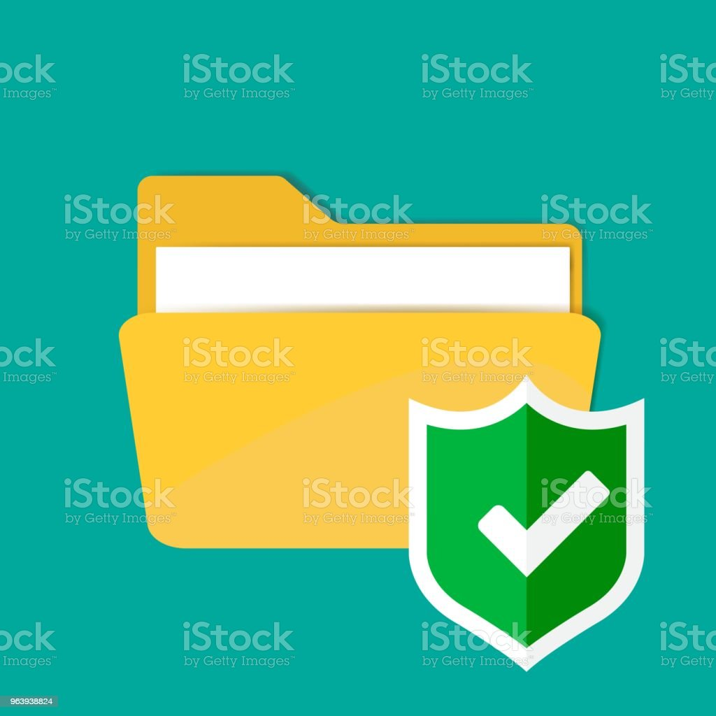 Folder vector icon. Folder and green shield. Notification of folder protection - Royalty-free Accessibility stock vector
