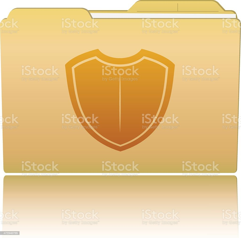 Folder with a shield royalty-free folder with a shield stock vector art & more images of briefcase