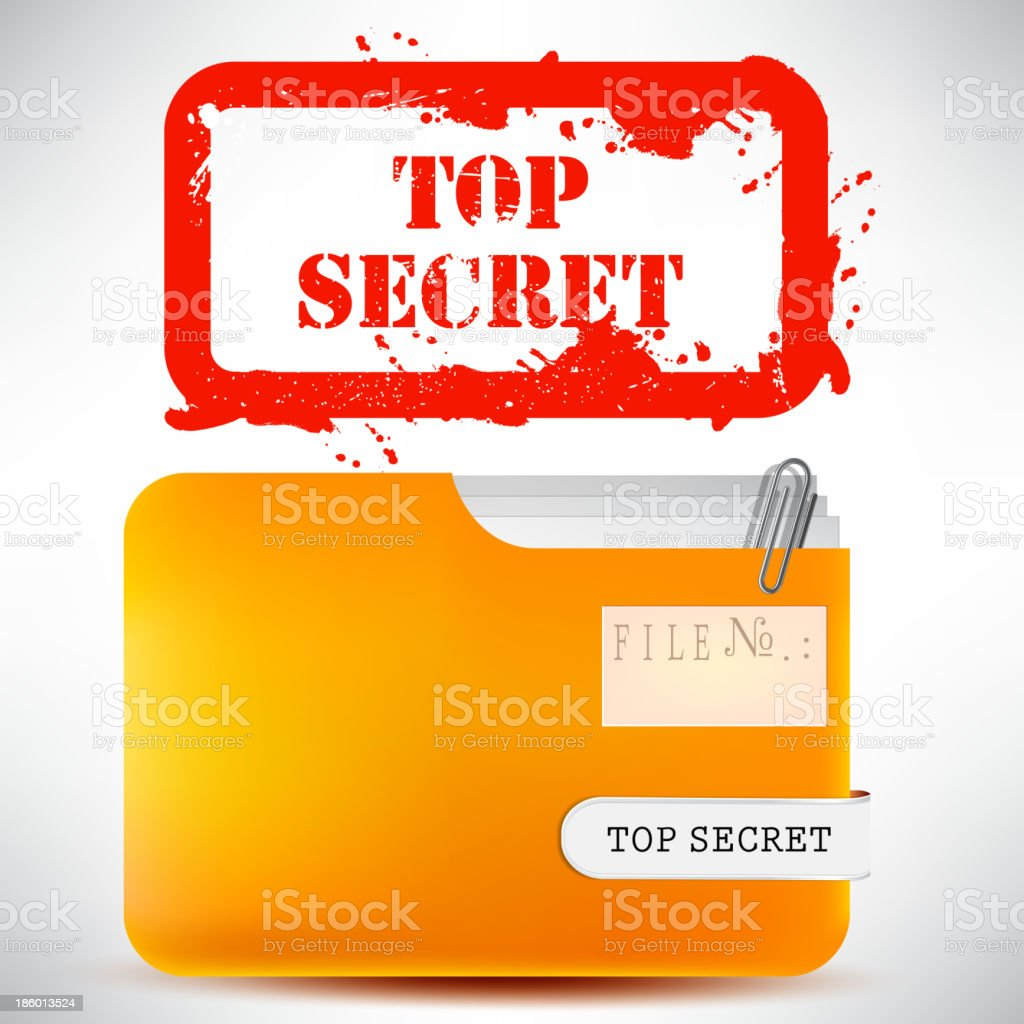 Folder with documents stamped 'Top Secret' royalty-free stock vector art