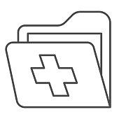 istock Folder with medical cross thin line icon, medicine concept, patient medical record sign on white background, Health Record Folder icon in outline style for mobile and web design. Vector graphics. 1282614343