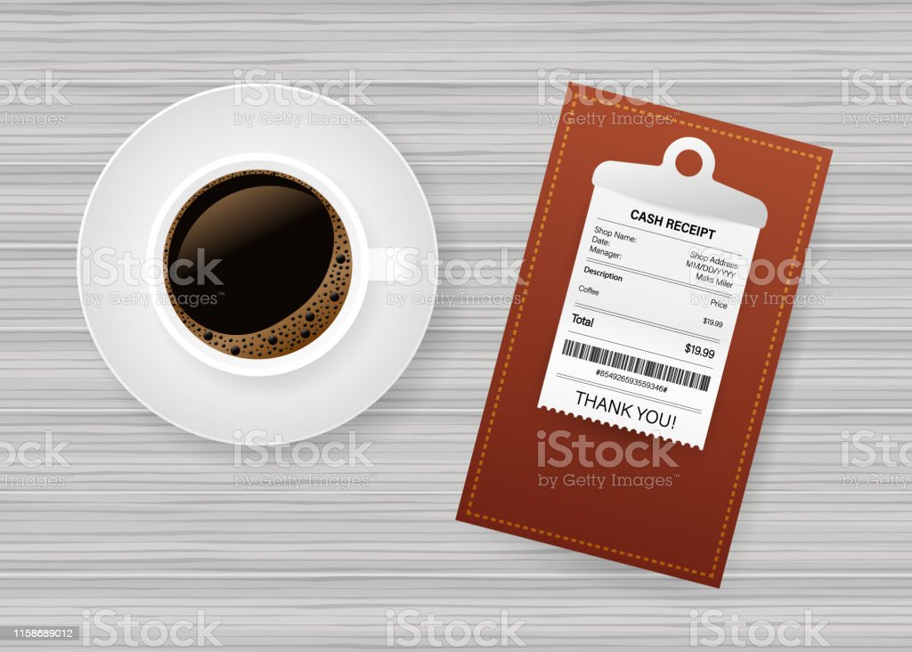 Folder with paper check. Coffee cup. Restaurant bill paying. Cashier...