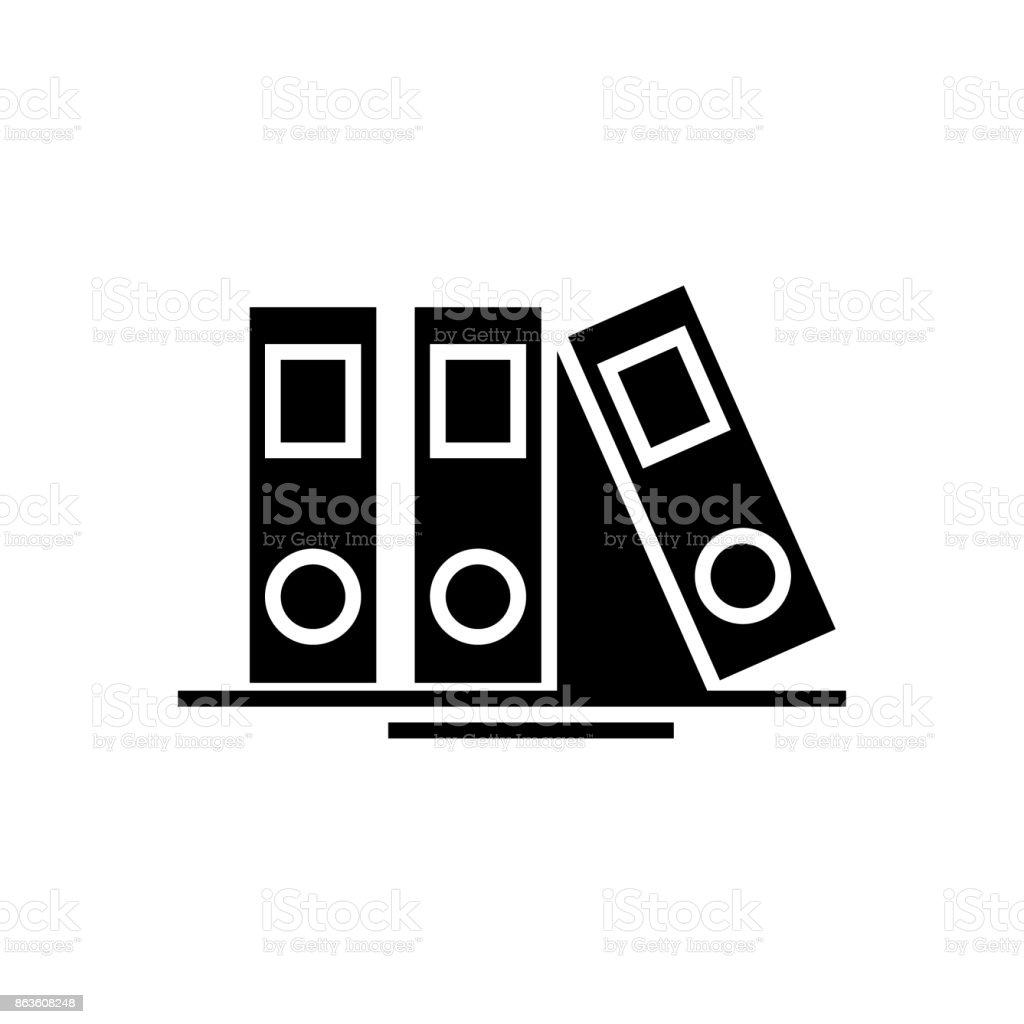 folders and files icon, vector illustration, black sign on isolated background vector art illustration