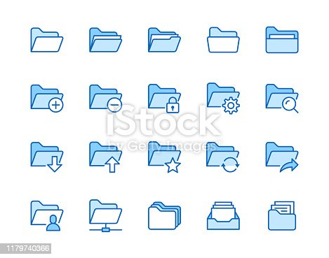 Folders flat line icons set. File catalog, document search, folder synchronization, local network vector illustrations. Outline minimal signs for web site. Pixel perfect 64x64. Editable Strokes.