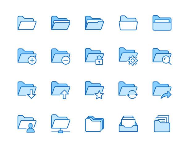 stockillustraties, clipart, cartoons en iconen met mappen platte lijn icons set. bestandscatalogus, zoeken in documenten, mapsynchronisatie, lokale netwerk vector illustraties. een overzicht van minimale tekens voor de website. pixel perfect 64x64. bewerkbare lijnen - dossier