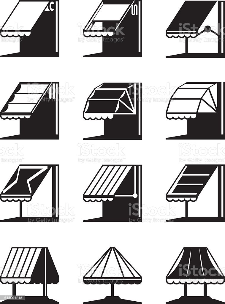 Folding awnings and canopies of buildings vector art illustration