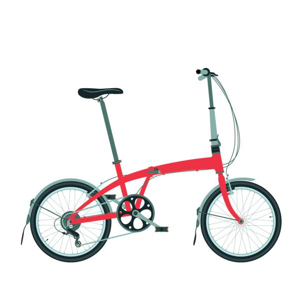 Folding bike isolated on white. Compact bicycle icon. Folding bike isolated on white. Compact bicycle icon. foldable stock illustrations