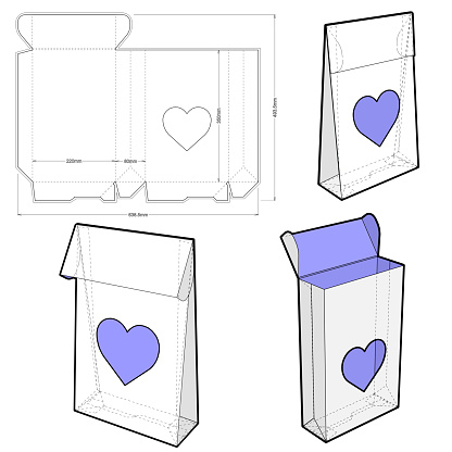 Folding Box (Internal measurement 22x8x35cm) and Die-cut Pattern. The .eps file is full scale and fully functional. Prepared for real cardboard production.