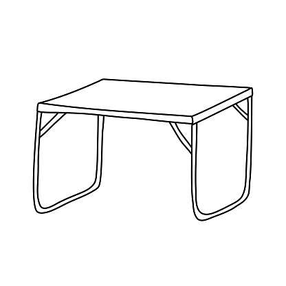 Folding camp table. Hand drawn vector illustration in doodle style on white background. Isolated black outline. Camping equipment.