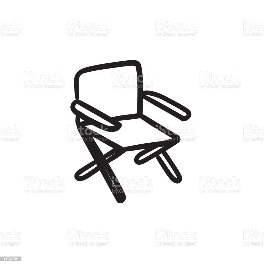 Folding chair sketch icon vector art illustration