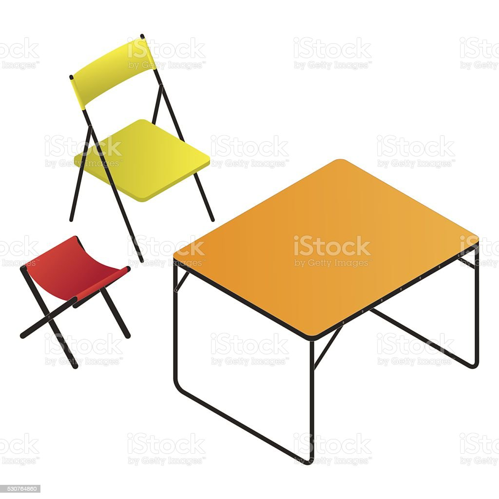folding chair, table and stool set vector art illustration