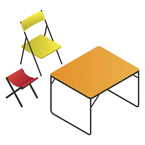 folding chair, table and stool set folding chair, table and stool set foldable stock illustrations