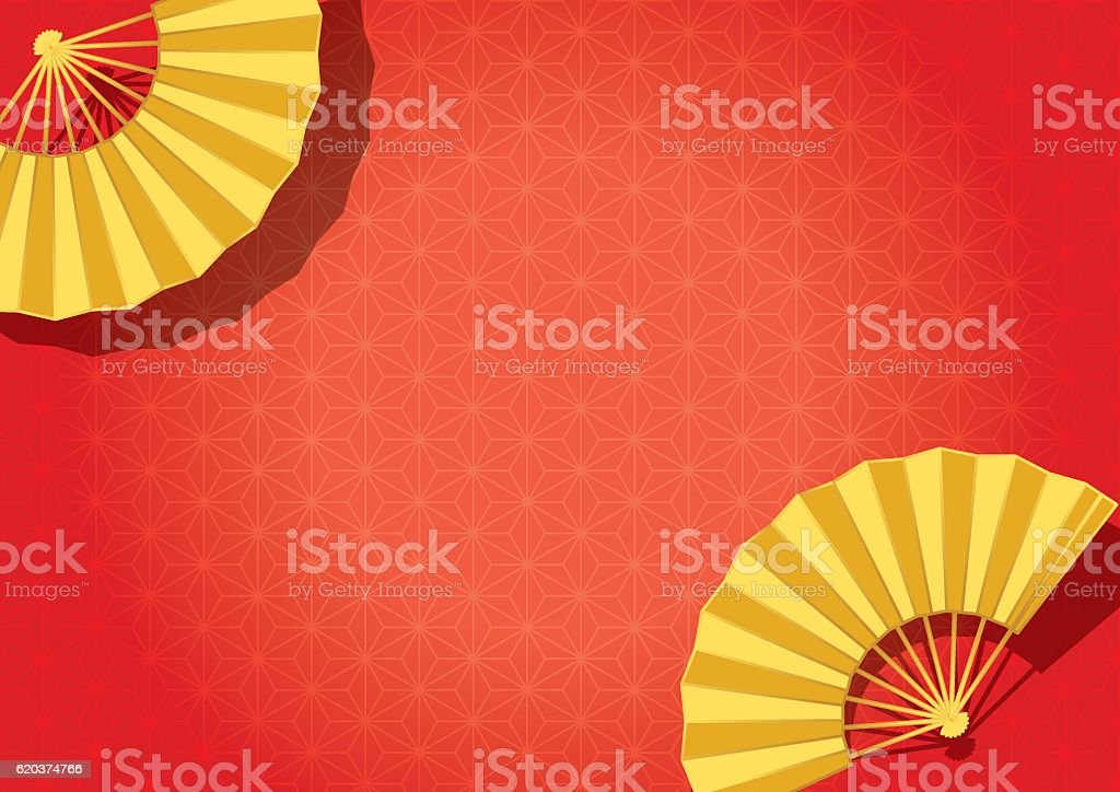 Folding fan. Traditional Japanese crafts. vector art illustration