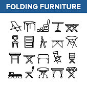 Folding Furniture Collection Icons Set Vector