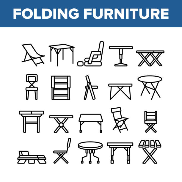 Folding Furniture Collection Icons Set Vector Folding Furniture Collection Icons Set Vector. Table And Chair, Lounge And Armchair Compact And Garden Relaxation Furniture Concept Linear Pictograms. Monochrome Contour Illustrations foldable stock illustrations