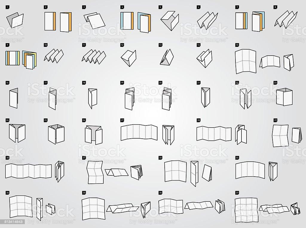 Folding icons for print vector art illustration