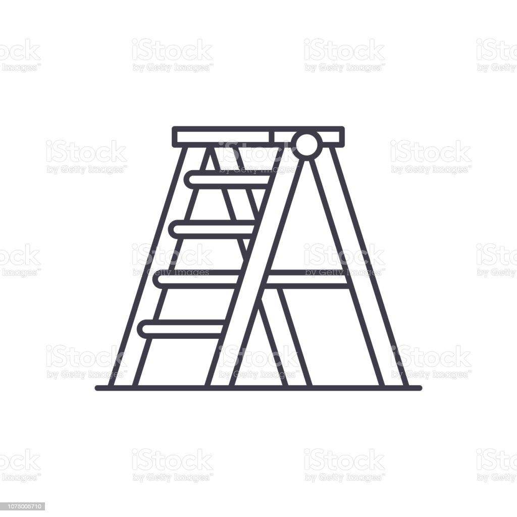 Folding ladder line icon concept. Folding ladder vector linear illustration, symbol, sign vector art illustration