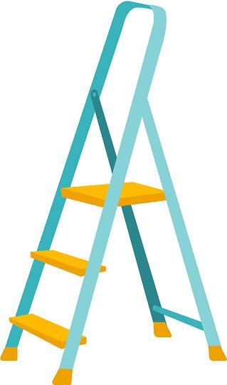 Folding step ladder vector cartoon illustration